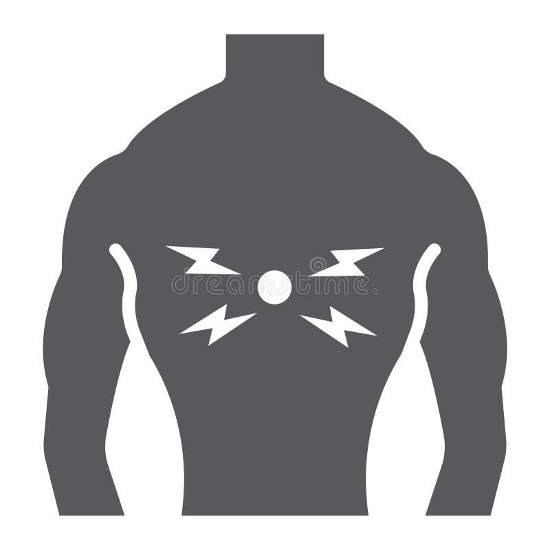 背部疼痛纵的沟纹象、身体和痛苦,后面伤害标志,向量图形,在白色背景的一个坚实样式 向量例证