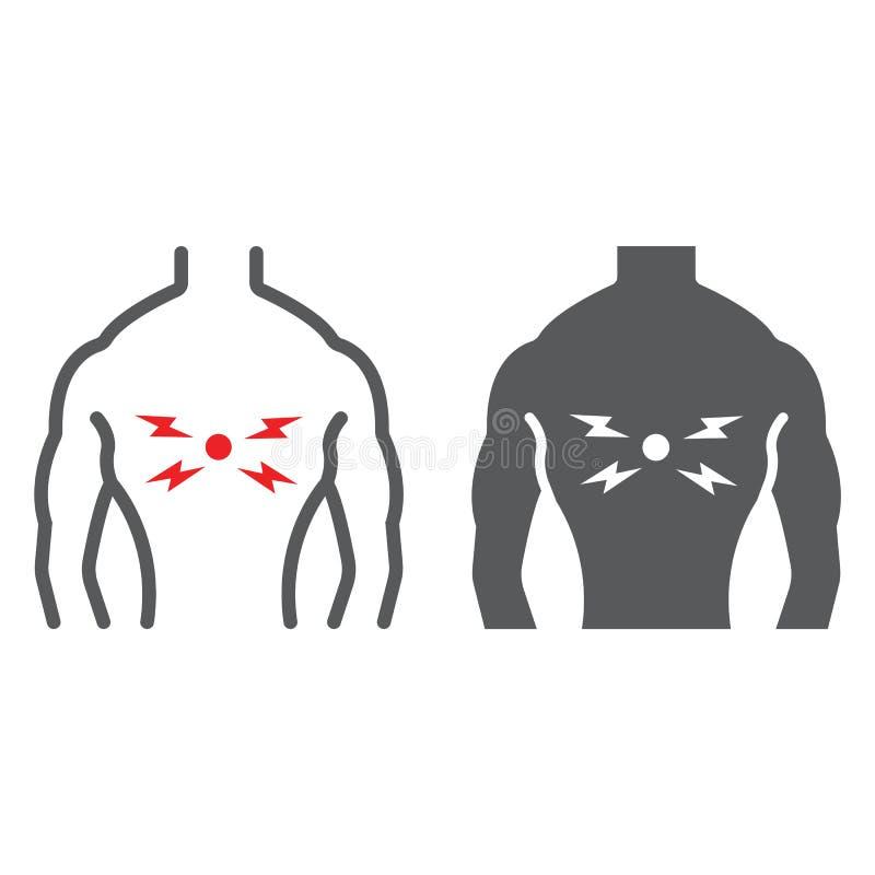 背部疼痛线和纵的沟纹象、身体和痛苦,后面伤害标志,向量图形,在白色背景的一个线性样式 向量例证