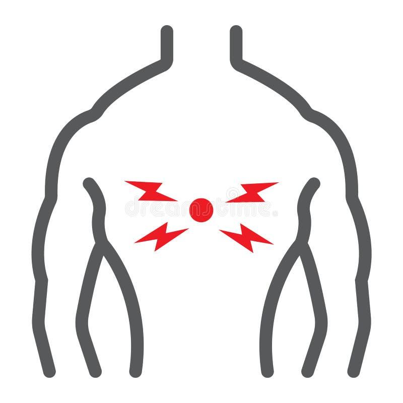 背部疼痛线象,身体和痛苦,后面伤害标志,向量图形,在白色背景的一个线性样式 皇族释放例证