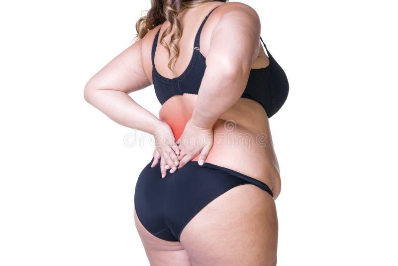 背部疼痛,肥胖妇女以腰疼,在白色背景隔绝的超重女性身体 免版税图库摄影