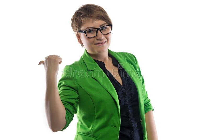 胖墩墩的少妇照片有拇指的 免版税库存图片