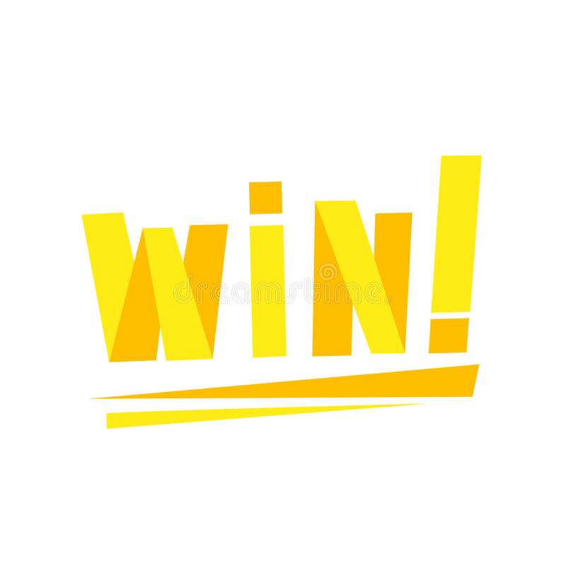 胜利与黄色书信设计模板的祝贺贴纸录影比赛获胜的结局的 皇族释放例证