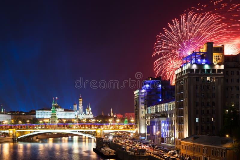 胜利天庆祝在莫斯科,俄罗斯 免版税库存图片