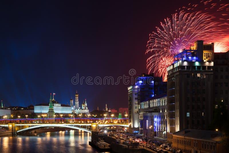 胜利天庆祝在莫斯科,俄罗斯 库存图片