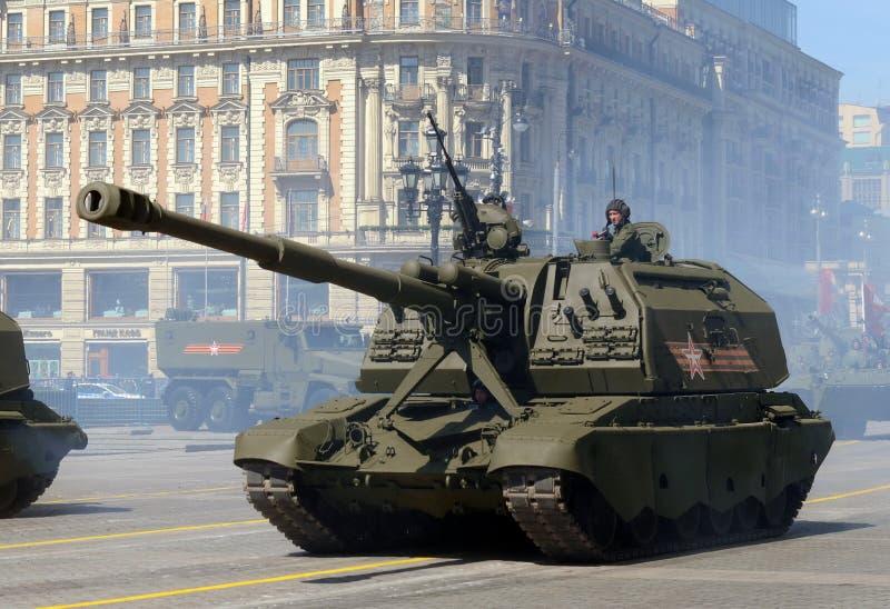 胜利天的第70周年的庆祝 俄国重的自走152 mm短程高射炮2S19 Msta-S 库存图片