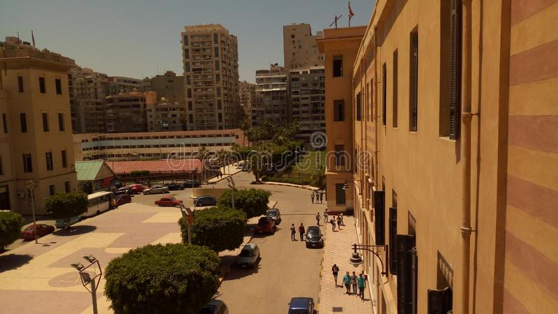 胜利学院学校是最大的学校在亚历山大,埃及 库存图片