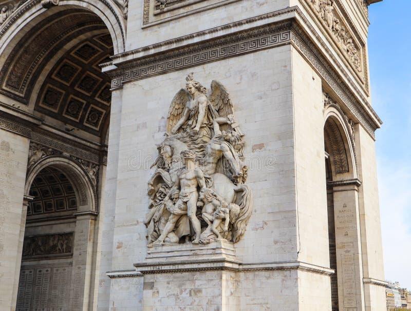 胜利或凯旋门,爱丽舍曲拱建筑细节在巴黎法国 2019?4? 免版税库存图片