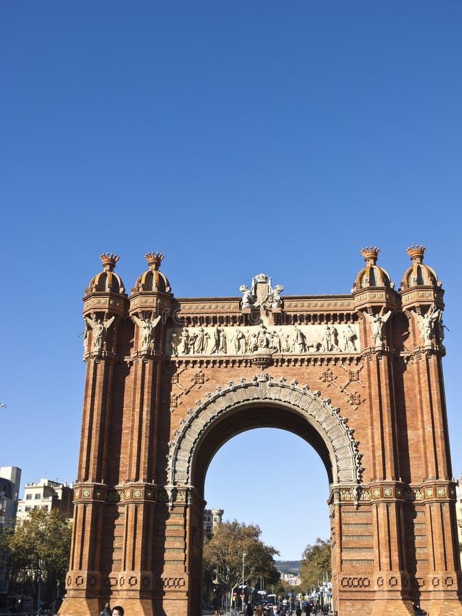 胜利曲拱在Lluis Company大道,在巴塞罗那,卡塔龙尼亚,西班牙 库存图片
