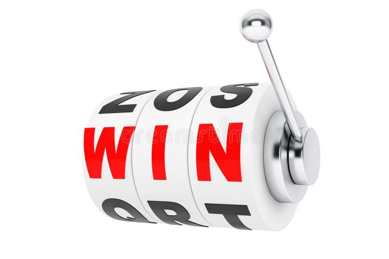 胜利标志为在老虎机轮子的困境排队 免版税库存图片
