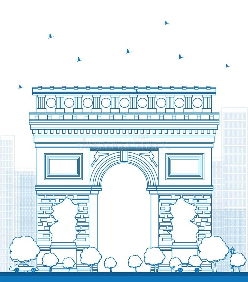 胜利概述曲拱  法国巴黎 向量例证