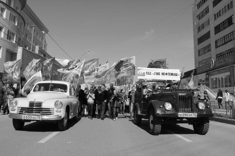 胜利游行在秋明州,俄罗斯 库存照片