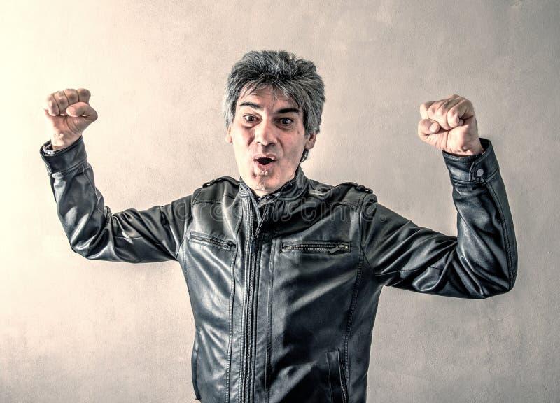 胜利的人欣喜 免版税图库摄影