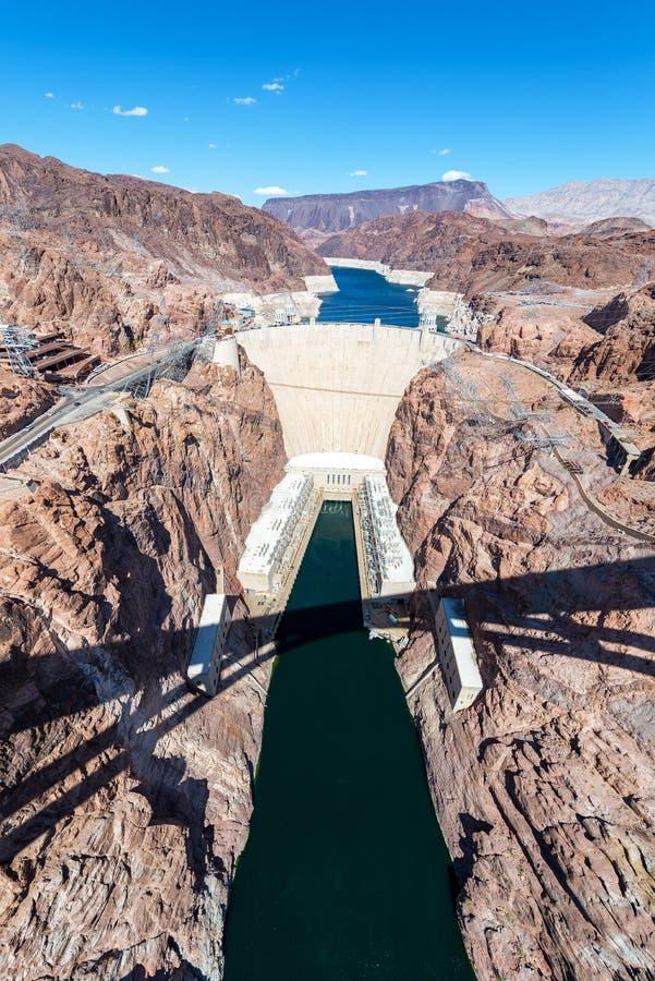 胡佛水坝垂直视图 免版税库存图片