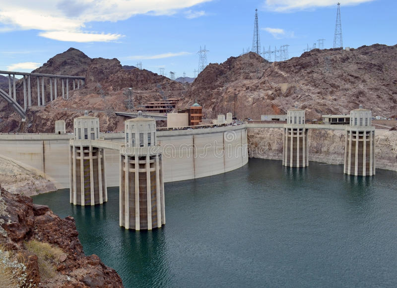 胡佛水坝,亚利桑那的上部 免版税库存照片