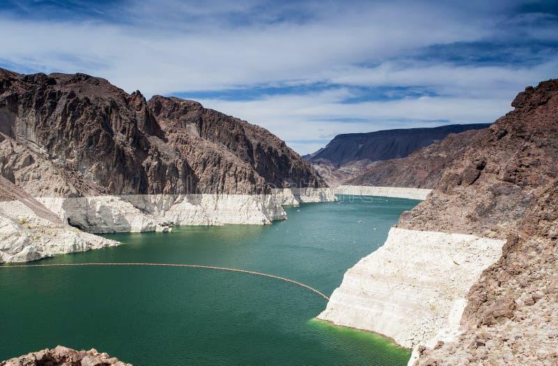 胡佛水坝,米德湖,内华达亚利桑那国家边界,美国 免版税图库摄影