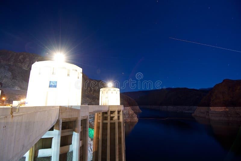 胡佛水坝Pilars、河和峡谷 免版税库存照片