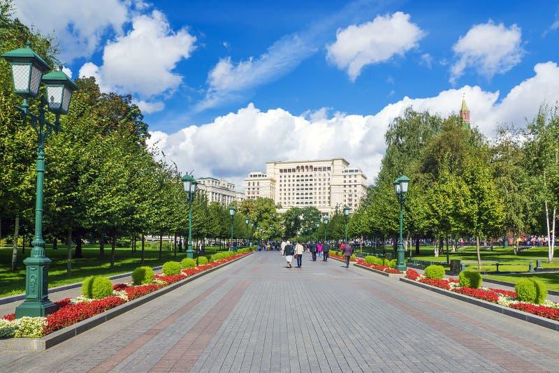 胡同亚历山大公园在莫斯科,俄罗斯 免版税库存图片