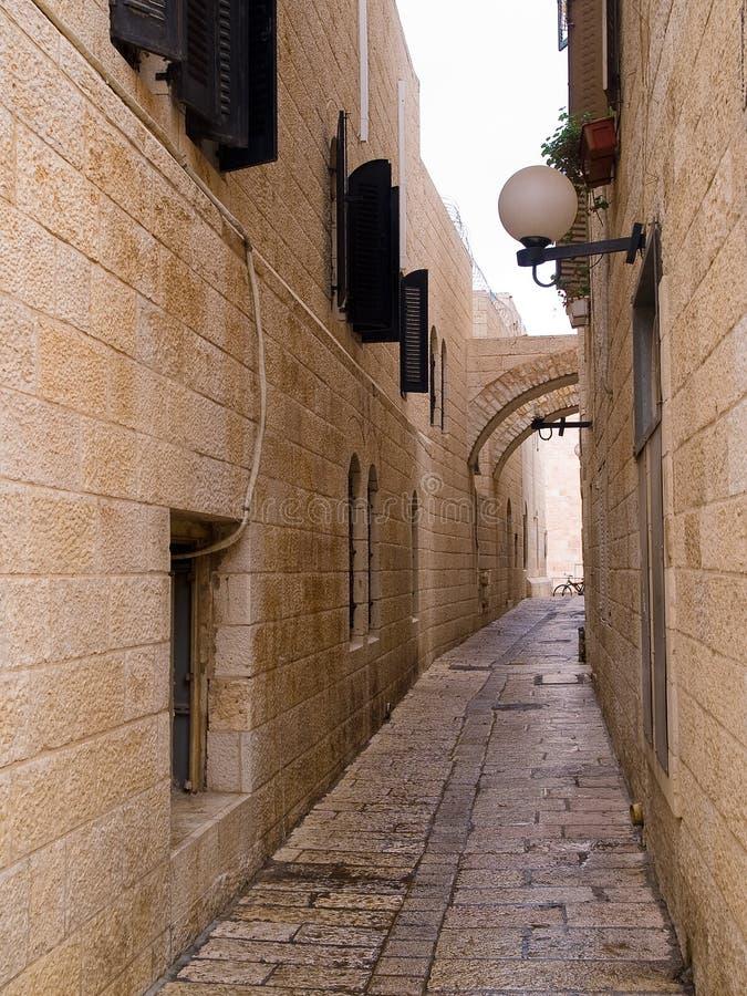 胡同城市以色列老耶路撒冷 免版税库存照片
