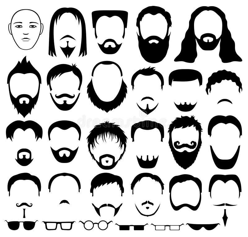 胡子、头发和玻璃 向量例证