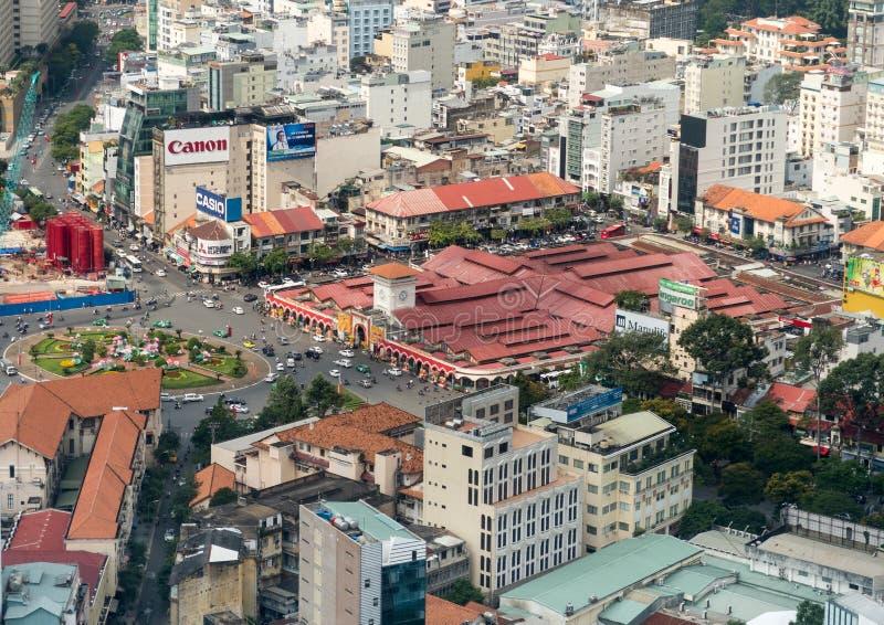 胡志明市前西贡本Thanh市场鸟瞰图  免版税库存照片