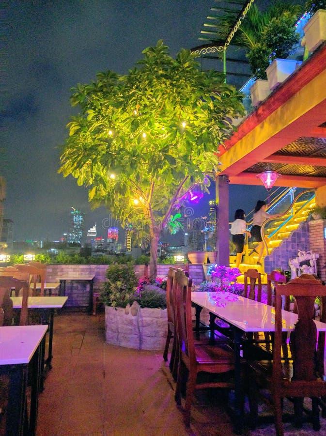 胡志明市在晚上,越南 图库摄影