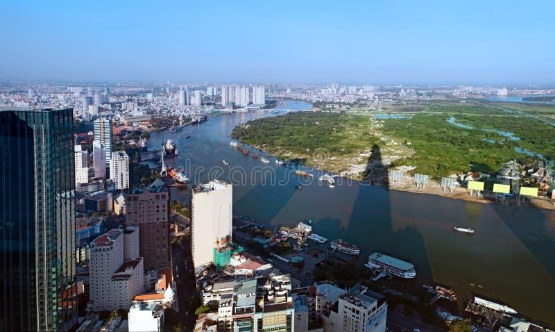 胡志明市看法从Bitexco财政塔的。 图库摄影