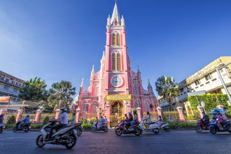 胡志明市,越南桃红色教会  免版税库存图片