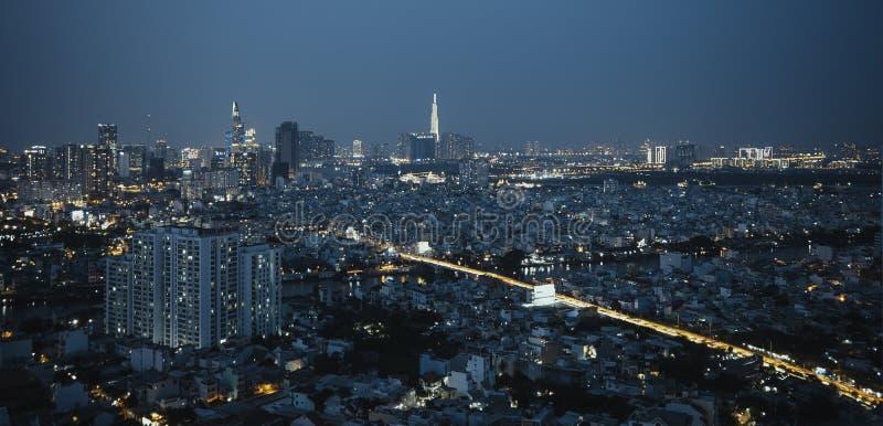 胡志明市Nightscape  免版税库存图片