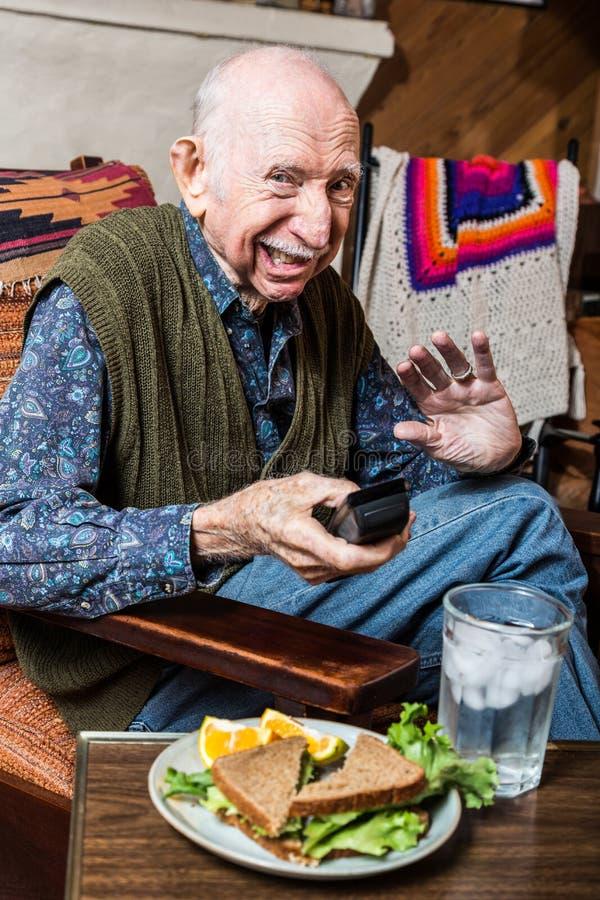 胡思乱想的年长人 图库摄影