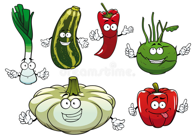 胡椒、夏南瓜、撇蓝、南瓜和葱 向量例证