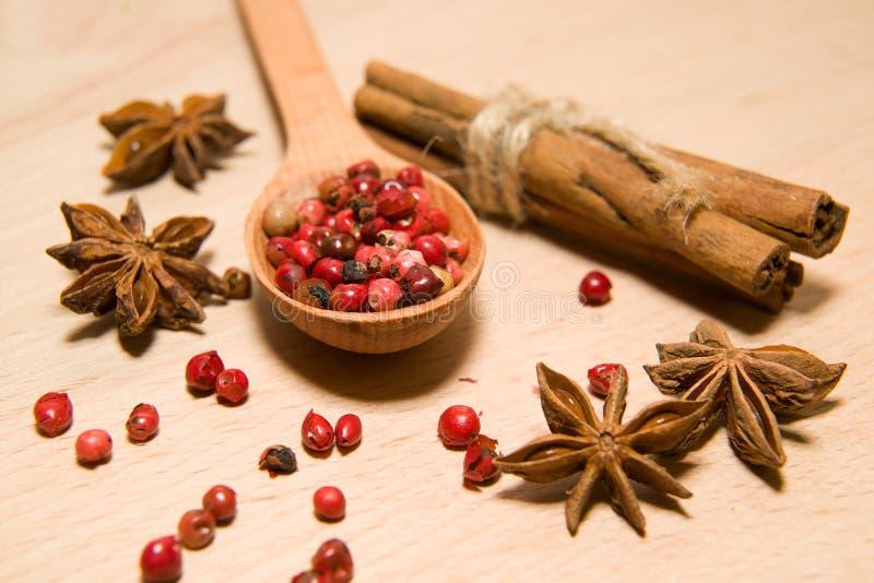 胡椒匙子、五谷,桂香和八角在一木sur 免版税库存照片