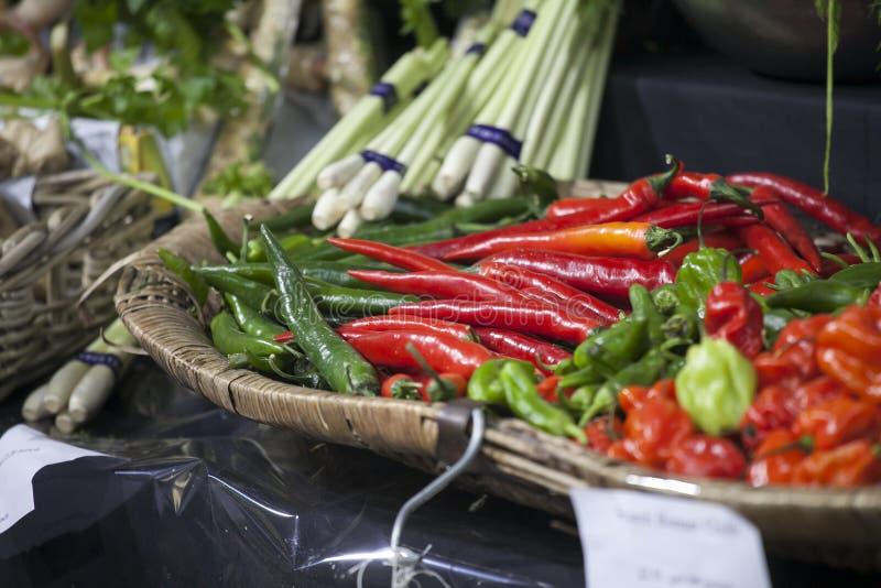 胡椒的不同的类型在柜台的在自治市镇市场上在伦敦 库存照片