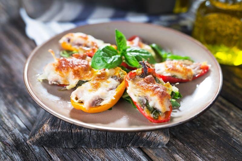 胡椒粉原料用沙丁鱼和无盐干酪 库存照片