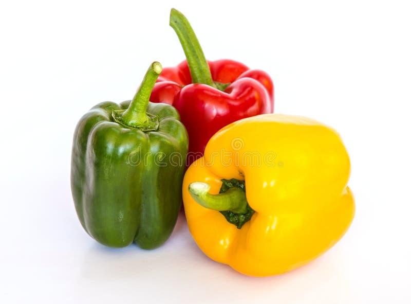 (胡椒)被隔绝的色的辣椒粉 库存照片
