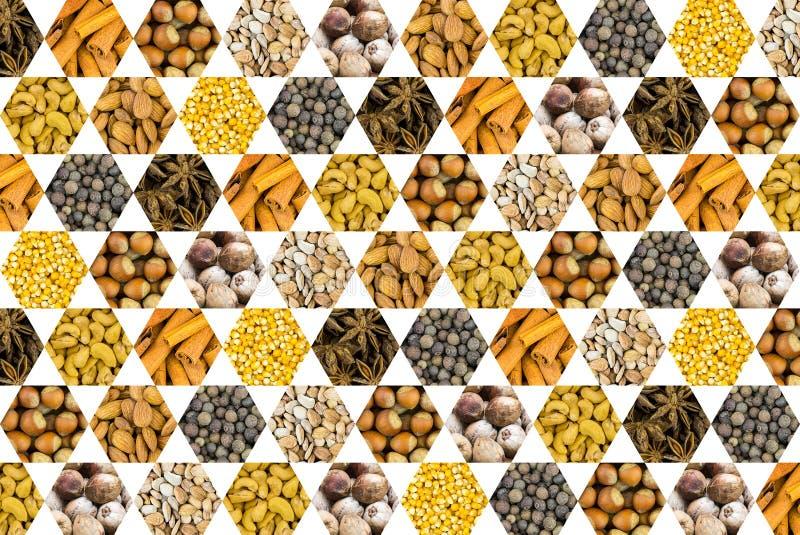 胡说的椰子腰果榛子香料的样式和玉米五谷染黄在白色背景的蜂窝象 图库摄影