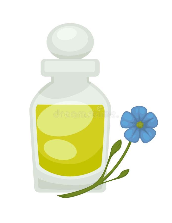 胡麻或亚麻仁油在瓶 传染媒介舱内甲板被隔绝的象 向量例证