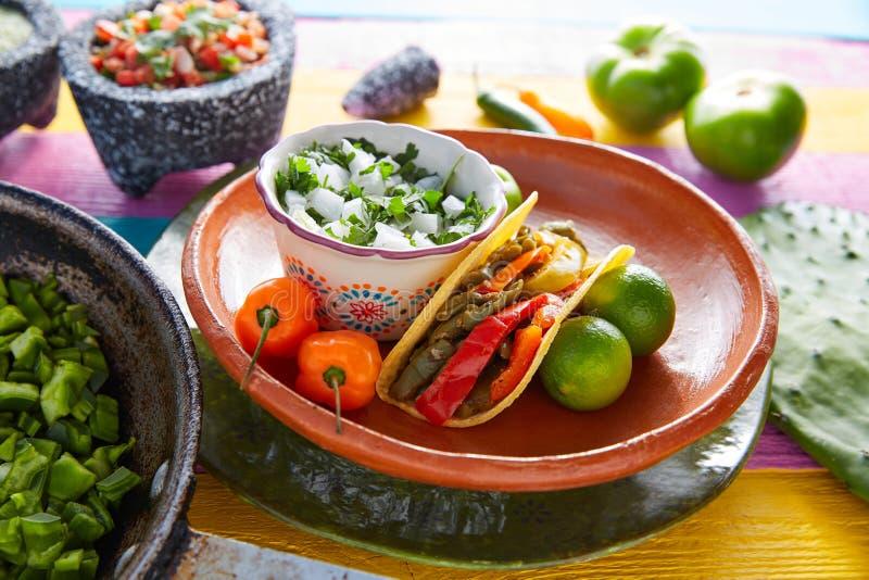 胭脂仙人掌炸玉米饼墨西哥食物用辣椒 免版税库存照片