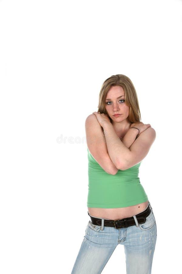 胳膊克服俏丽的妇女年轻人 库存照片