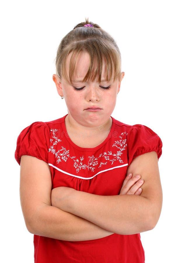 胳膊克服的哭泣的女孩查出的小的白&# 免版税库存照片