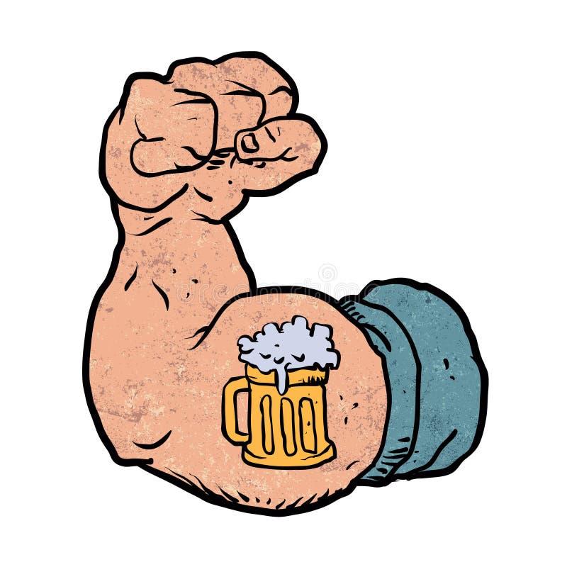 胳膊屈曲与啤酒纹身花刺 向量例证