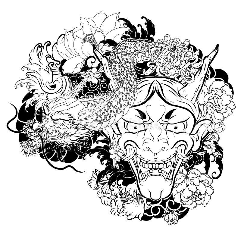 胳膊的日本老龙纹身花刺 与樱花的手拉的Oni面具和牡丹开花 在波浪和佐仓的日本邪魔面具 库存例证
