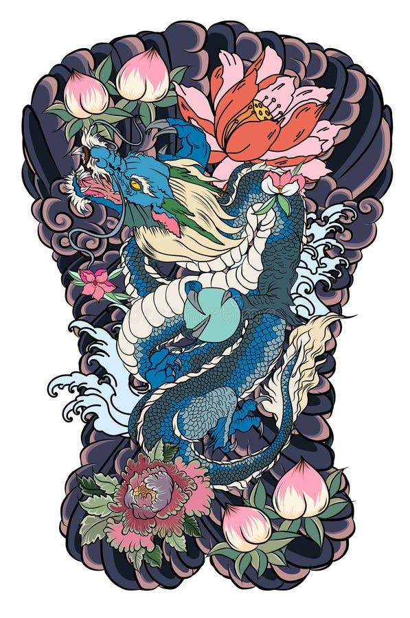 胳膊的日本老龙纹身花刺 与牡丹花,莲花,玫瑰色和菊花图片