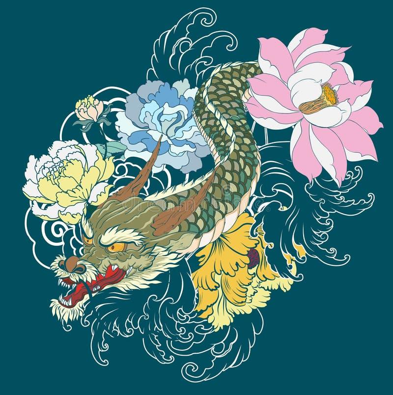 胳膊的日本老龙纹身花刺 与牡丹花的手拉的龙,莲花,玫瑰色和菊花花和