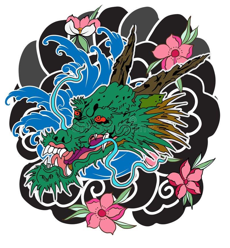 胳膊的日本老龙纹身花刺 与牡丹花的手拉的龙,莲花,玫瑰色和菊花花