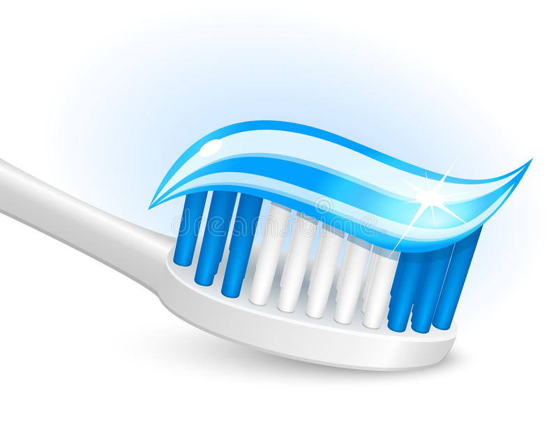 胶凝体牙刷牙膏 皇族释放例证