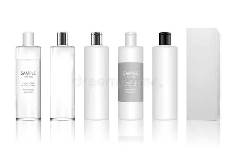 胶凝体的,化妆水,奶油,香波,浴泡沫,skincare化妆塑料瓶 库存例证