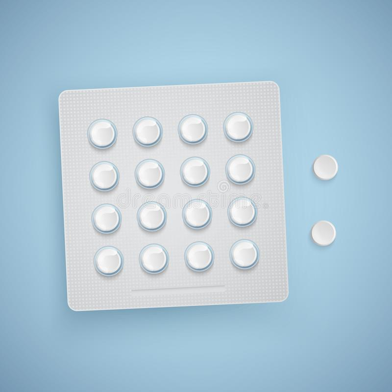 胶囊和药片在新的天线罩包装,医疗产品,现实传染媒介 向量例证