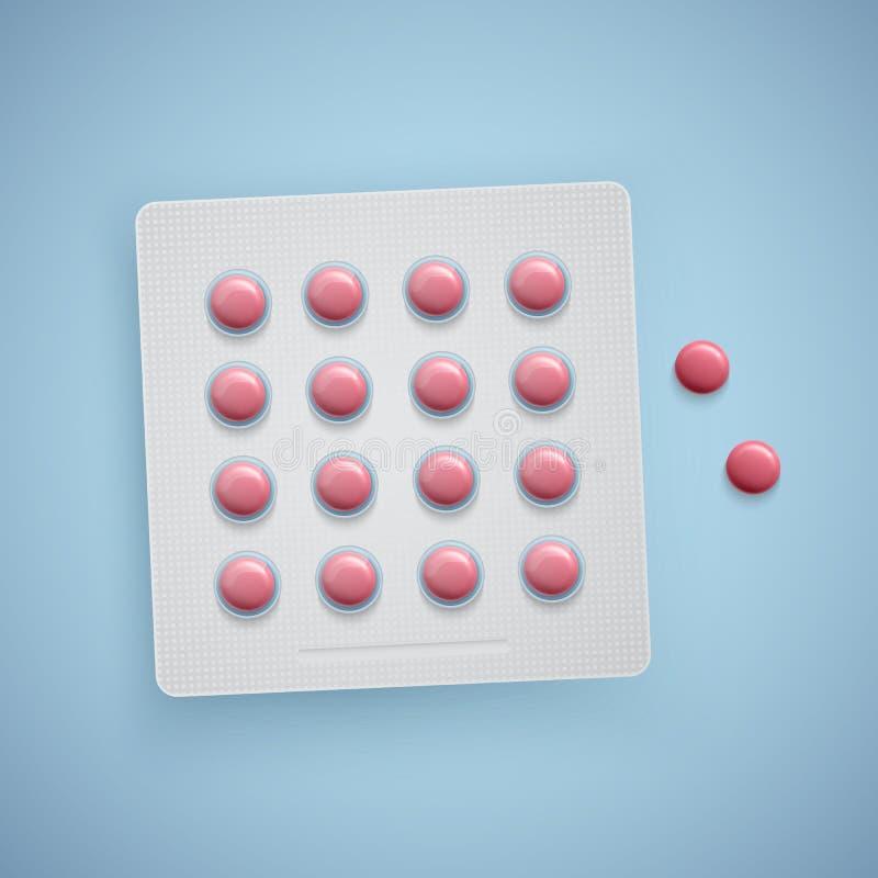 胶囊和药片在新的天线罩包装,医疗产品,现实传染媒介 库存例证