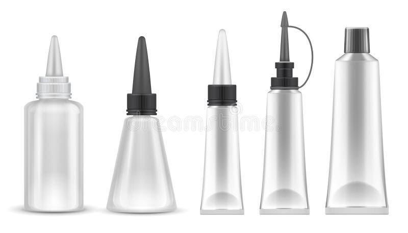 胶浆包装 现实管和瓶胶粘剂、牙膏和化妆用品产品的 被隔绝的传染媒介集合 库存例证