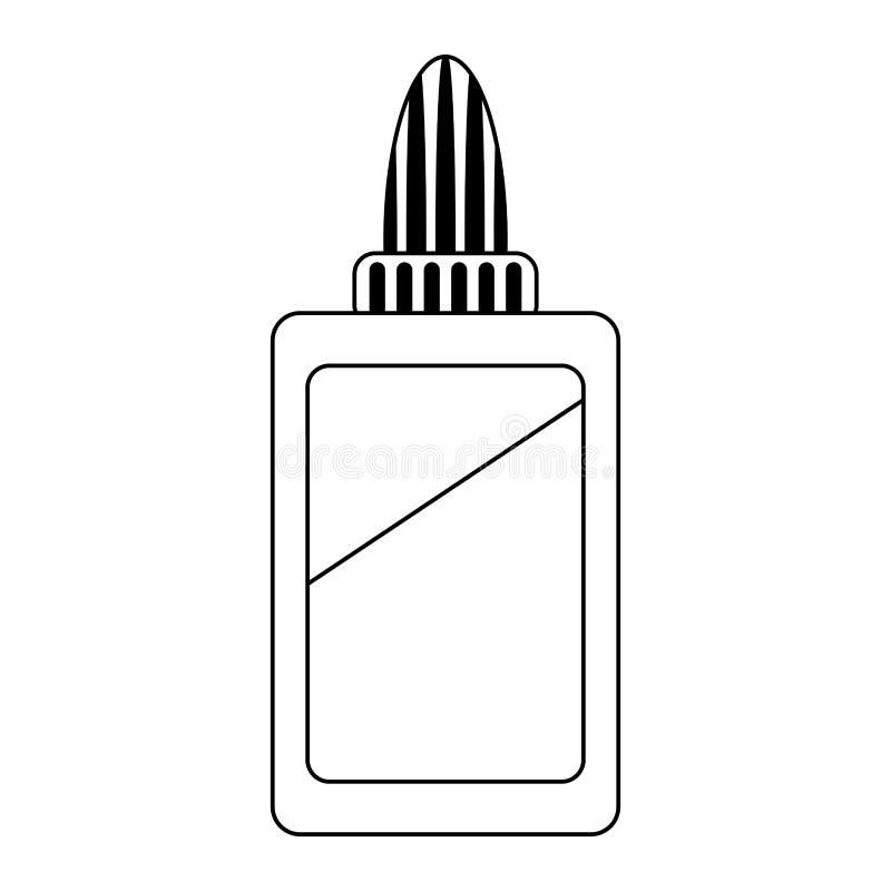 胶浆瓶学校在黑白的器物标志 库存例证